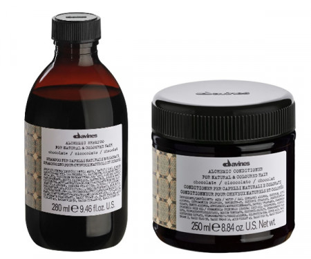 DAVINES ALCHEMIC CHOCOLATE 580ml / PACK - 2 / champú + acondicionador (cabello marrón / negro)