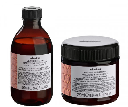 DAVINES ALCHEMIC COPPER 580ml / PACK - 5 / champú + acondicionador (cabello color cobre)