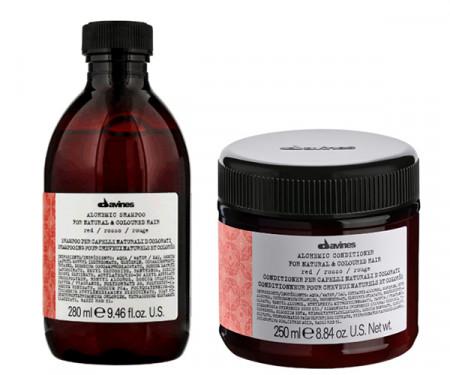 DAVINES ALCHEMIC RED 580ml / PACK - 4 / champú + acondicionador (cabello rojo / caoba)