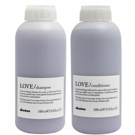 DAVINES LOVE SMOOTHING PACK - CHAMPÚ 1000 ml y ACONDICIONADOR 1000 ml