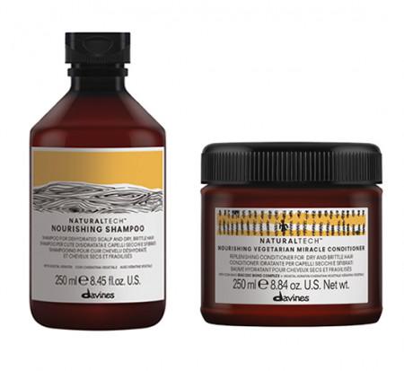 DAVINES NATURAL TECH NOURISHING / 500ml / PACK 34 / champú + acondicionador (cabello seco / dañado)