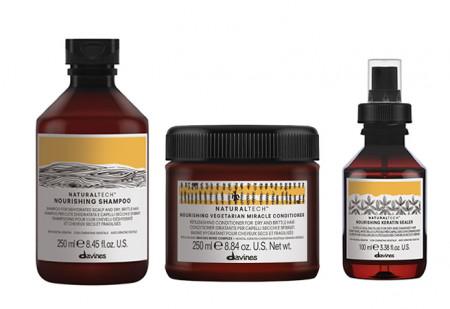 DAVINES NATURAL TECH NOURISHING / 600ml / PACK 31 / champú + acondicionador + fluido (cabello seco y dañado)