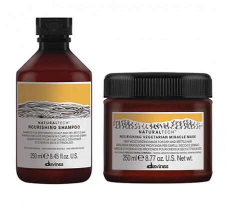 DAVINES NATURAL TECH NOURISHING / 500ml / PACK 33 / champú + mascarilla (cabello seco y dañado)