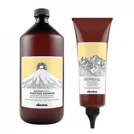 DAVINES PURIFYING PACK - CHAMPÚ 1000 ml y GEL TRATAMIENTO 150 ml