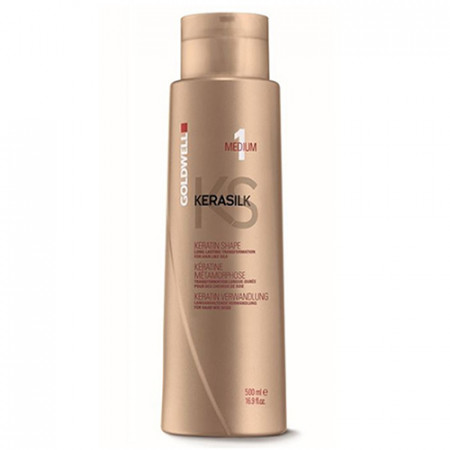GOLDWELL KERASILK KERATIN SHAPE MEDIUM 1 / 500ml / tratamiento de Keratina / transforma los cabellos rebeldes, ondulados y encrespados en cabellos sedosos y lisos