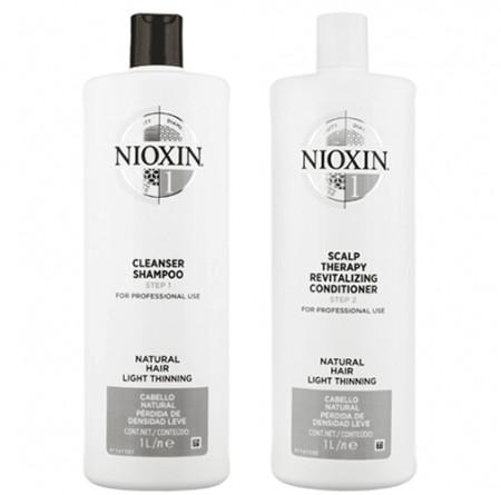 NIOXIN PACK SISTEMA 1 | Champú 1000ml + acondicionador 1000ml | Cabello de normal a débil, natural y fino. Amplifica la textura y protege contra la rotura
