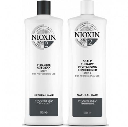 NIOXIN PACK SISTEMA 2 Champú 1000ml + acondicionador 1000ml Cabello natural, muy débil y fino. Fortalece frente al daño