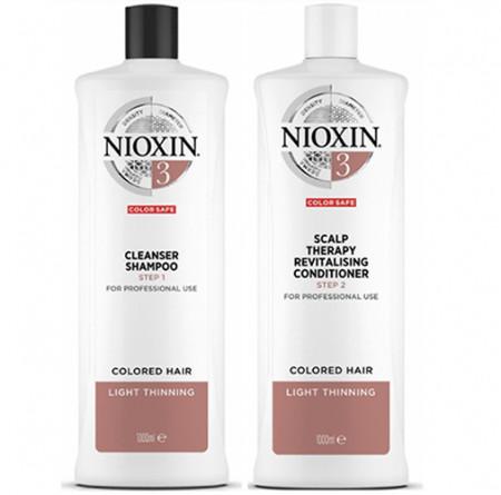 NIOXIN PACK SISTEMA 3 | Champú 1000ml + acondicionador 1000ml |  Cabello tratado, aspecto normal a debil fino. Amplifica la textura del cabello
