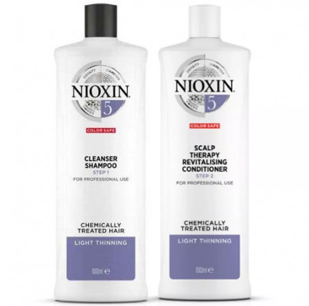 NIOXIN PACK SISTEMA 5 | Champú 1000ml + acondicionador 1000ml | Cabello natural o tratado, debil y grueso. Cabello mas hidratado y sano