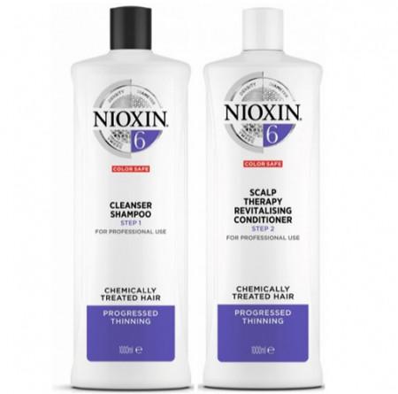 NIOXIN PACK SISTEMA 6 | Champú 1000ml + acondicionador 1000ml | Cabello muy débil, medio a grueso. Cabello mas sano e hidratado