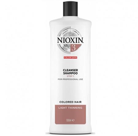 NIOXIN CHAMPÚ 3 1000ml cabello coloreado, fino y aspecto normal a fino