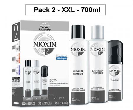 NIOXIN PACK 2 XXL 700ml ANTICAIDA cabello natural, fino y con pérdida perceptible