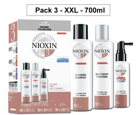 NIOXIN PACK 3 XXL 700ml ANTICAIDA 700ml cabello coloreado y aspecto normal a fino