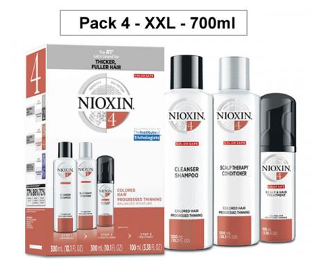 NIOXIN PACK 4 XXL 700ml ANTICAIDA cabello coloreado, fino y pérdida perceptible