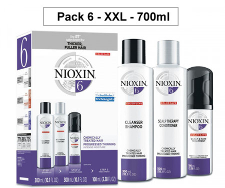 NIOXIN PACK 6 XXL 700ml ANTICAIDA cabello coloreado o natural con pérdida perceptible