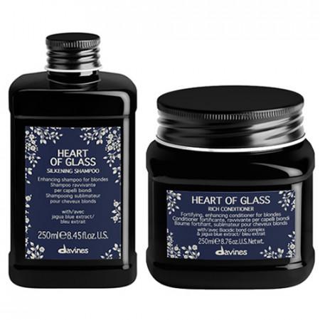 PACK DUO DAVINES HEART OF GLASS 500 ml - champu y acondicionador - cabellos rubios