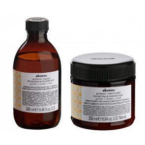 DAVINES ALCHEMIC GOLDEN 580ml / PACK - 3 / champú + acondicionador (cabello rubio / dorado)