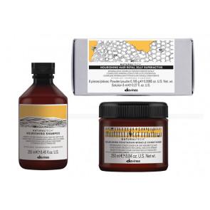 DAVINES NATURAL TECH NOURISHING / 500ml + 6x8ml / PACK 32 / champú + acondicionador + tratamiento nutritivo de jalea real (cabello seco / dañado)