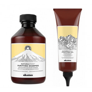 DAVINES NATURAL TECH PURIFYING / 400ml / PACK 35 / champú + tratamiento en gel purificante (cabello con caspa / grasa o seco)