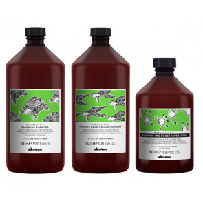 DAVINES RENEWING PACK - CHAMPÚ 1000 ml - ACONDICIONADOR 1000 ml - PRO BOOST SUPERACTIVE 500 ml