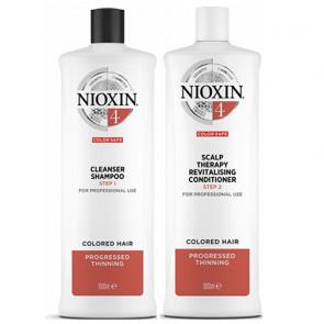 NIOXIN PACK SISTEMA 4 | Champú 1000ml + acondicionador 1000ml |  Cabello tratado, muy debil y fino. Amplifica la textura del cabello