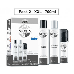 NIOXIN PACK 2 XXL 700ml ANTICAIDA cabello natural, fino y con pérdida perceptible