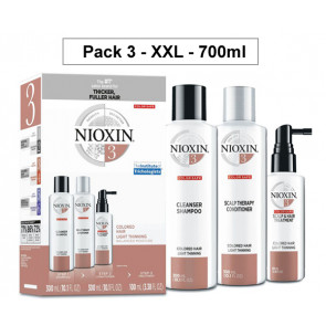 NIOXIN PACK 3 XXL 700ml ANTICAIDA 700ml cabello coloreado y aspecto normal a fino