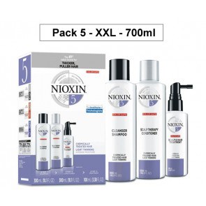 NIOXIN PACK 5 XXL 700ml ANTICAIDA cabello coloreado o natural, aspecto fino