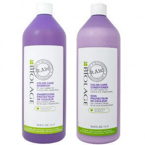 PACK BIOLAGE RAW COLOR CARE CHAMPÚ 1000 ml + ACONDICIONADOR 1000 ml
