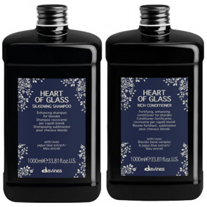 PACK DUO DAVINES HEART OF GLASS 2000 ml - champu y acondicionador - cabellos rubios
