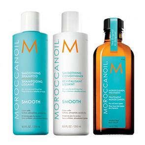 MOROCCANOIL SMOOTH - 600ml - PACK 22 / Champú + Acondicionador + Aceite de Argán / cabello rebelde - encrespado
