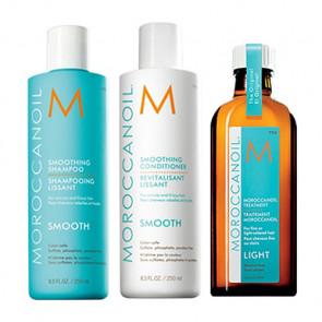 MOROCCANOIL SMOOTH - 600ml - PACK 23 / Champú + Acondicionador + Aceite de Argán Light  / cabello rebelde - encrespado