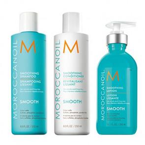 MOROCCANOIL SMOOTH - 800ml - PACK 25 Champú + Acondicionador + Loción suavizante / cabello rebelde - encrespado