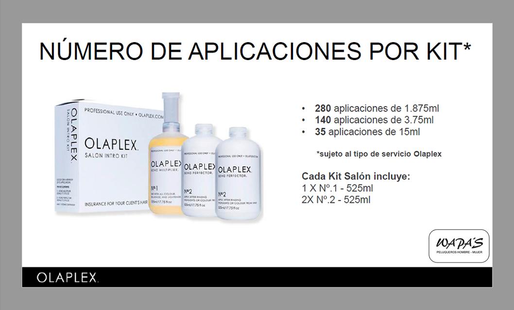 numero de aplicaciones olaplex por cada kit